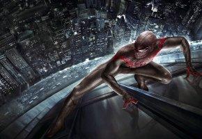 Обои Новый Человек-паук, Spider-Man, костюм, отражение, город, дорога, машины