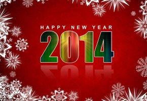 Обои новый год, 2014, снежинки, фон, красный