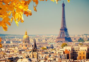 Обои France, Paris, La tour Eiffel, Eiffel Tower, Франция, Париж, Эйфелева башня, город, панорама, вид, здания, дома, купола, крыши, фон, осень, листья, же