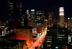 Лос-Анджелес, Los Angeles, здания, ночь, огни