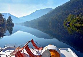 Обои горы, лес, озеро, утро