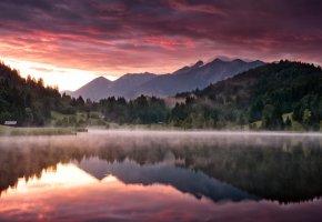 Обои Пейзаж, природа, горы, лес, озеро, утро, рассвет