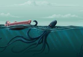 Обои море, осьминог, волны, лодка, человек