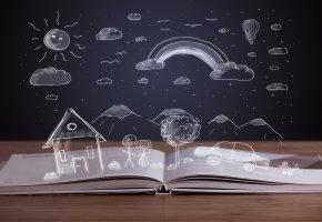 Обои книга, book, открытая, рисунок, дом, горы, облака, солнце