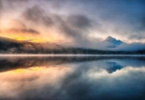 Обои озеро, лес, горы, дымка, туман