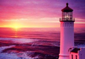 Обои Маяк, рассвет, море, небо, солнце