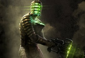 Обои Dead Space, Айзек Кларк, Isaac Clarke, мужчина, шлем, оружие