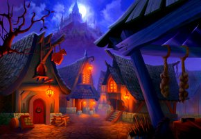 Обои Деревня, домики, огни, замок, скалы, Луна