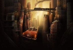 будущее, мегаполис, фантазия, авто, мост, дома, небоскребы, трубы, металл