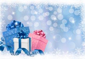 Обои Новый год, christmas, шарики, рождество, подарки, банты