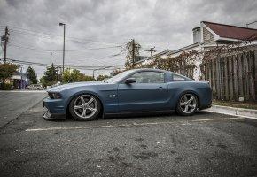 Обои Ford, Mustang, blue, Дорога, диски, боком, хром