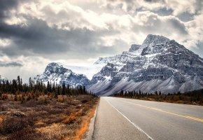 Обои дорога, горы, пейзаж, снег, облака, деревья