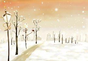 Обои Новый год, зима, снег, фонарь, деревья, дорога, дома, огни