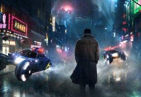 Обои dystopia, улица, будущие, человек, дождь, transport