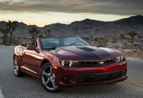 Обои Chevrolet, Camaro, Шевроле, Камара, бордовая, горы