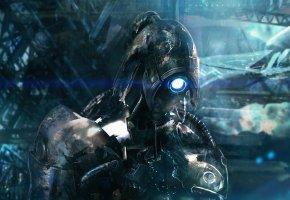 Mass Effect 2, Легион, Legion, робот, дыра, глаз