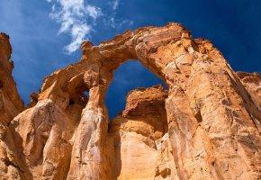 Обои скала, гора, небо, камни, арка