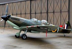 Обои аэродром, Spitfire Tr.9, британский, учебно-тренировочный самолет