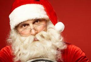 Обои новый год, очки, часы, борода, дед мороз