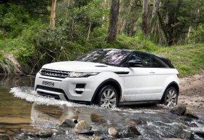 Обои Land Rover, range rover, evoque, ленд ровер, ренж ровер, эвок, кроссовер, джип, белый, вода