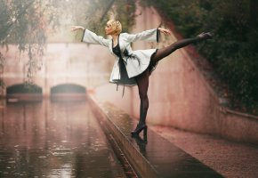балерина, гимнастка, стойка, дождь, природа, ножки