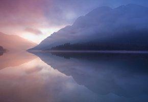 Обои Туман, озеро, горы, водоем, раннее утро
