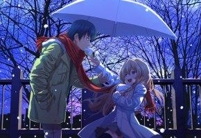 Обои девушка, парень, зонт, снег, смех, радость