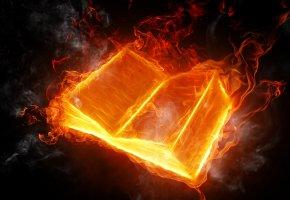 Обои книга, огонь, дым, пожар, пламя