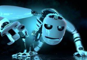 Обои робот, белый, фэнтези, robot, white