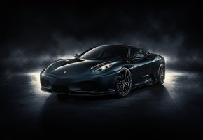 Обои Ferrari, F430, ферарри, черная, гонка