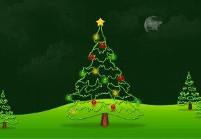 Обои новый год, праздник, елка, ель, елочка, зеленый, шары, новогодние украшения