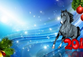 Обои новый год, лошадь, 2014, игрушки, подарки