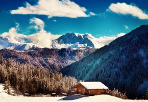 ���� winter, mountains, ����, ������, ���, ����, ����, clouds