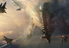 Обои арт, дракон, небо, самолёты, битва
