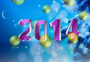 ёлка, шары, 2014, новый год, снег