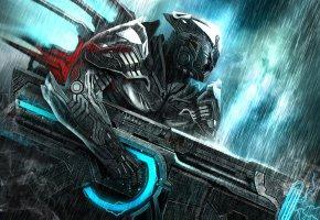 Обои Воин, броня, пушка, энергия, дым, дождь