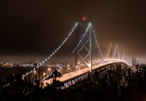 ���� San Francisco, California, USA, bridge, lights, ���-���������, ����������, �����, ����