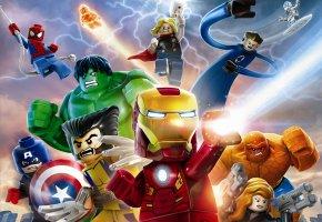 Обои LEGO, Super Heroes, Лего, супергерои, Железный человек, Росомаха, ХАЛК, Существо, Черная вдова