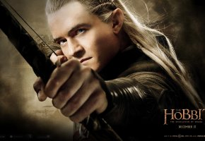 Обои The Hobbit: The Desolation of Smaug, Orlando Bloom, Legolas, Хоббит: Пустошь Смауга, Орландо Блум, Леголас, эльф, принц, лучник, лук