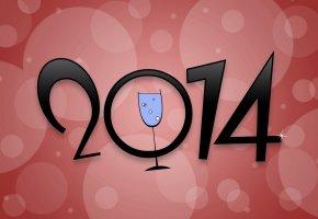 Обои 2014, надпись, цыфры, бокал, вектор, круги, новый год