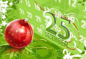 Обои Рождество, календарь, шар, цифры, фон