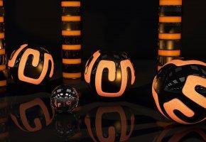 свет, сфера, шары, неон, узор, оранжевый, цилиндры