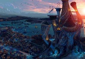 Обои дома, morrowind, корабли, башня, город, река