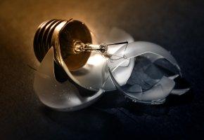 Обои лампочка, цоколь, стекло, осколки, вольфрам, нить накала