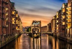 Обои Germany, город, река, канал, дома, огни