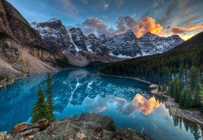Обои горы, Канада, озеро, лес, снег, тишина
