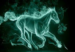 Обои лошадь, бежит, дым, сияние, хвост, грива