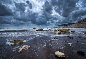 Обои пейзаж, океан, вода, волны, берег, камни, скалы, небо, облака, nature