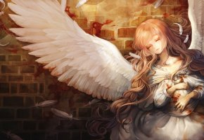 арт, девушка, ангел, крылья, перья, волосы