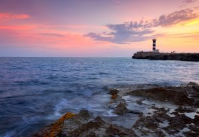 Обои пейзаж, море, вода, волны, берег, скалы, закат, небо, облака, краски